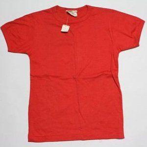 NWT Vtg 80s NOS Ringer Cotton T-shirt,Red, S/M